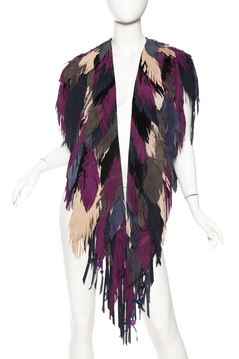 Fantastic oversized Feather Leather Shawl made from calfskin and lambskin suede.