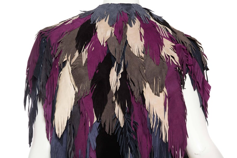 1970s Style Suede Fringe Shawl For Sale 4