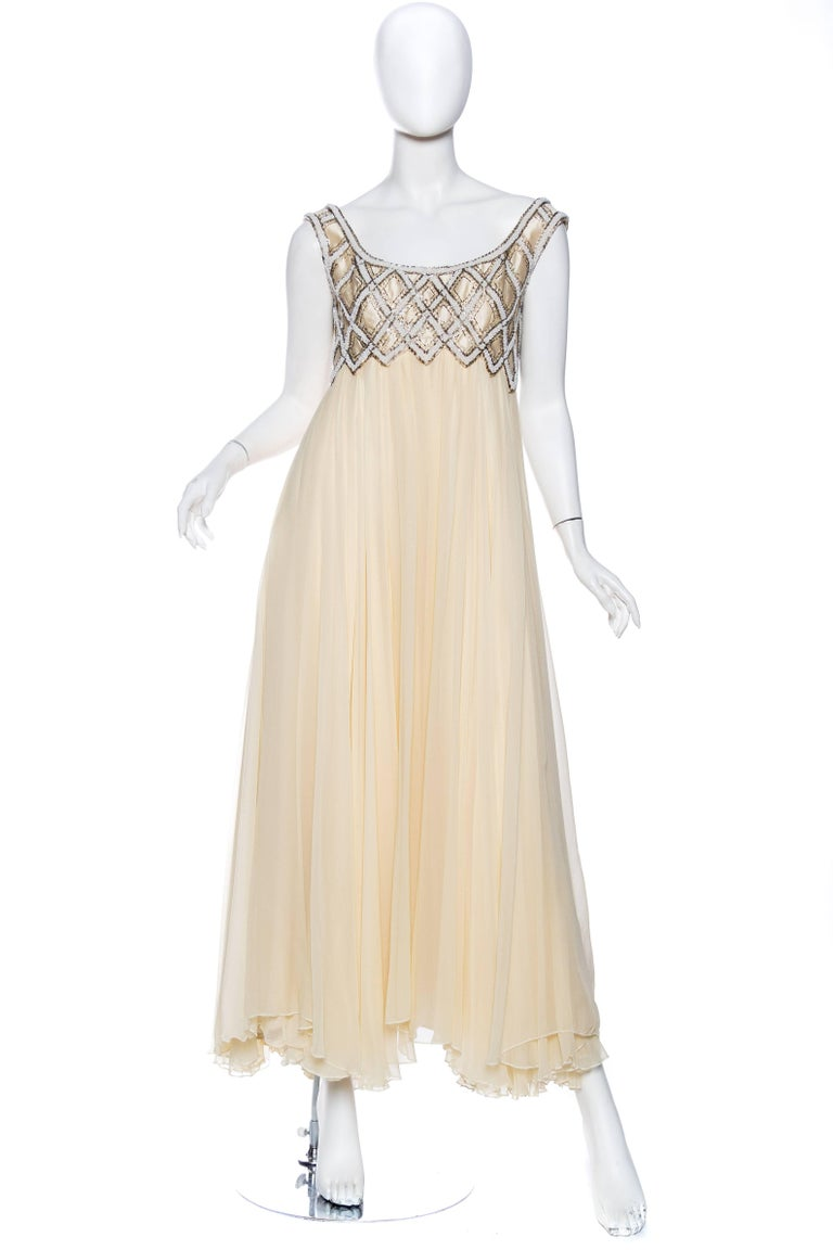 1960s Beaded Empire Waist Gown with Layered Chiffon Skirt and Jacket ...
