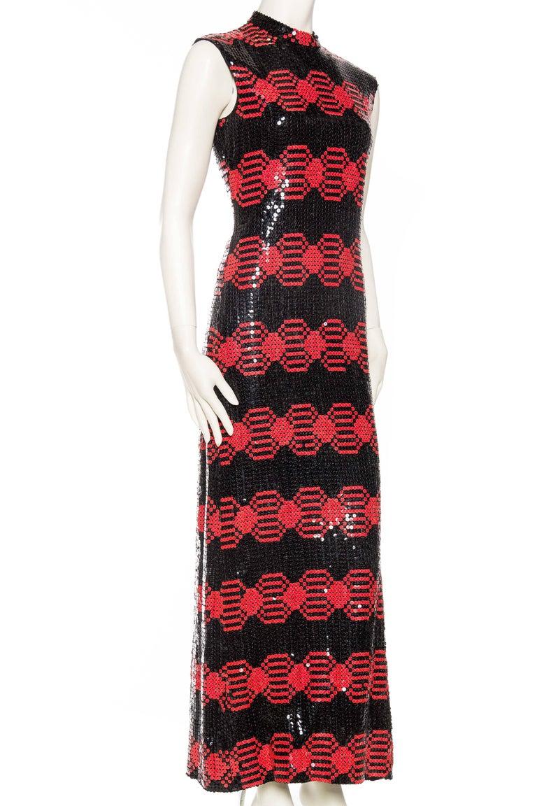 Black Adele Simpson Mod Sequin Dress For Sale