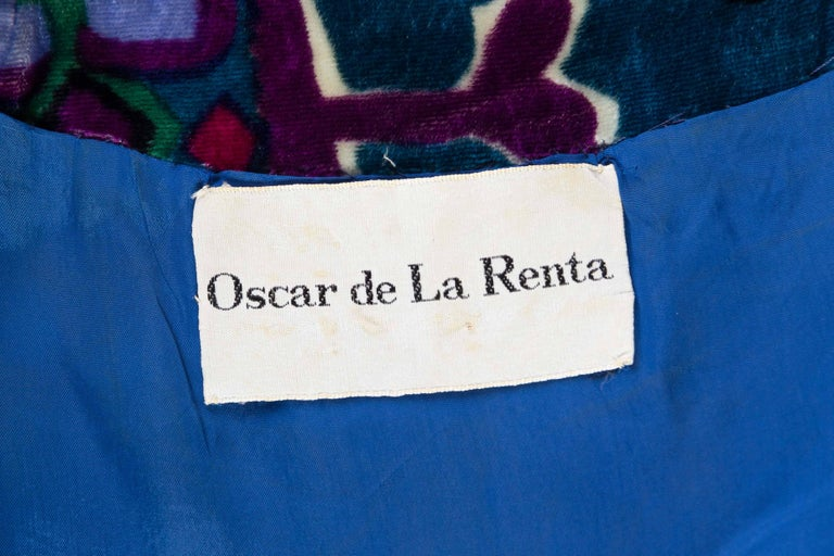 1960s Oscar De La Renta Lightweight Velvet Dress with Crystals For Sale 5