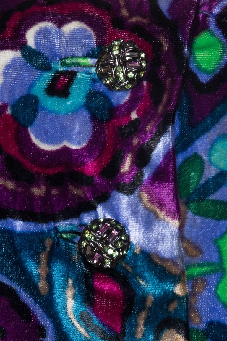 1960s Oscar De La Renta Lightweight Velvet Dress with Crystals For Sale 4