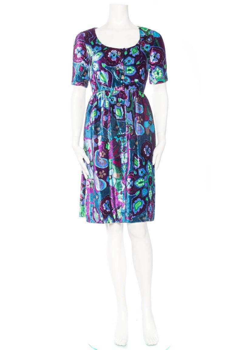 Purple 1960s Oscar De La Renta Lightweight Velvet Dress with Crystals For Sale