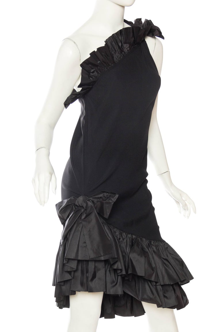 Saint Laurent Taffeta & Crepe Dress In Excellent Condition For Sale In New York, NY