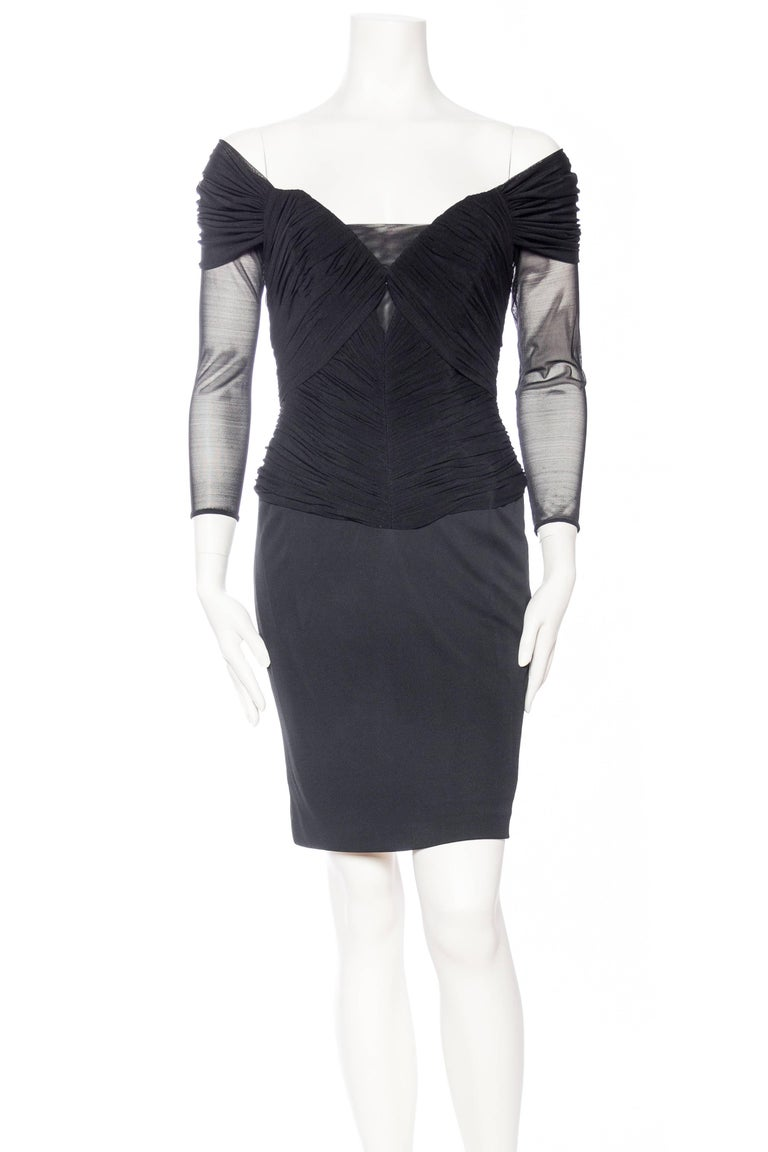 Black Vicky Tiel Couture Boned Dress with Sheer Net and Jersey For Sale