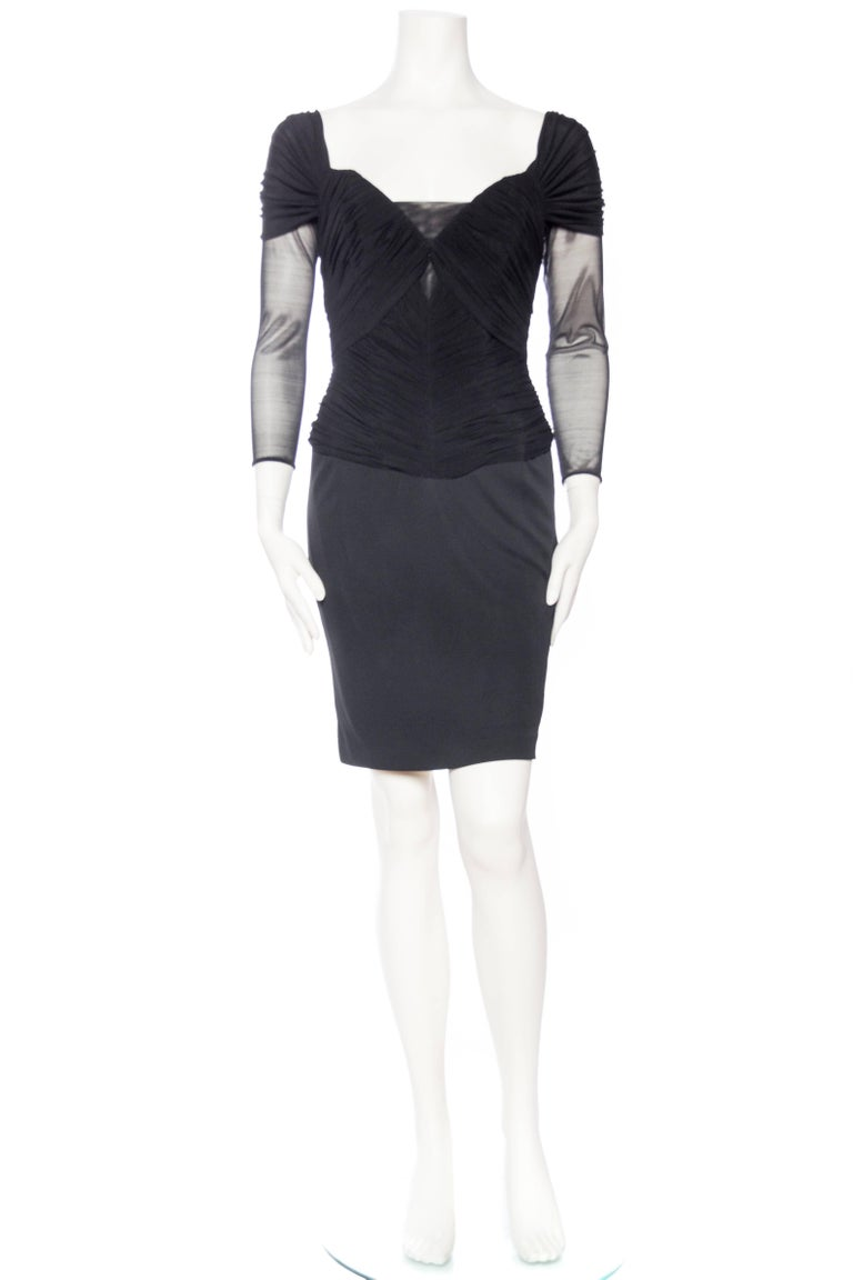 Vicky Tiel Couture Boned Dress with Sheer Net and Jersey In Excellent Condition For Sale In New York, NY