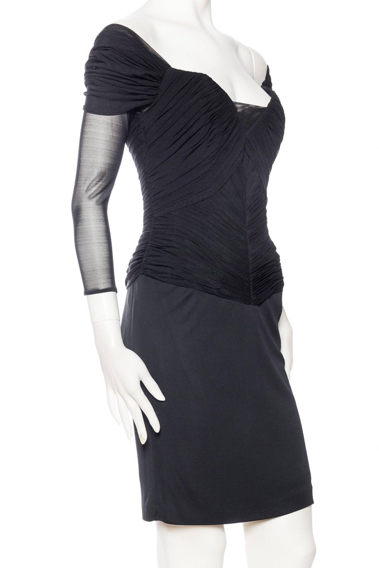 Women's Vicky Tiel Couture Boned Dress with Sheer Net and Jersey For Sale