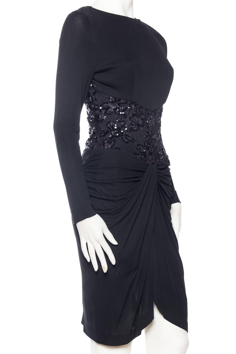 1980s Slinky Vicky Tiel Silk Bergdorf Goodman Jersey and Beaded Lace Dress In Excellent Condition For Sale In New York, NY