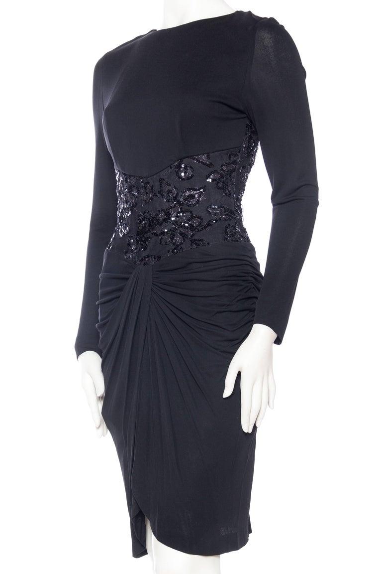 Women's 1980s Slinky Vicky Tiel Silk Bergdorf Goodman Jersey and Beaded Lace Dress For Sale