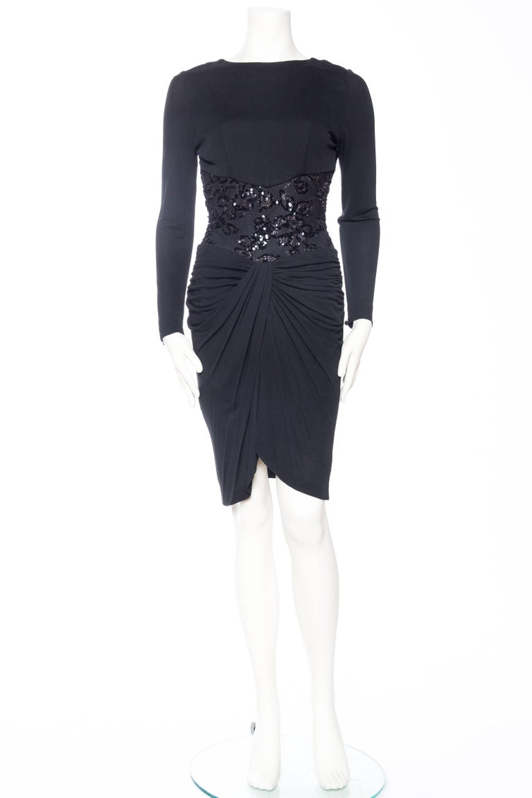 Black 1980s Slinky Vicky Tiel Silk Bergdorf Goodman Jersey and Beaded Lace Dress For Sale