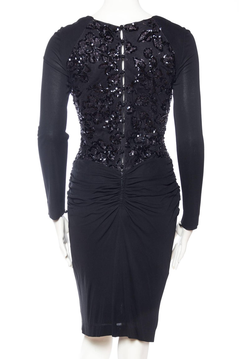 1980s Slinky Vicky Tiel Silk Bergdorf Goodman Jersey and Beaded Lace Dress For Sale 1