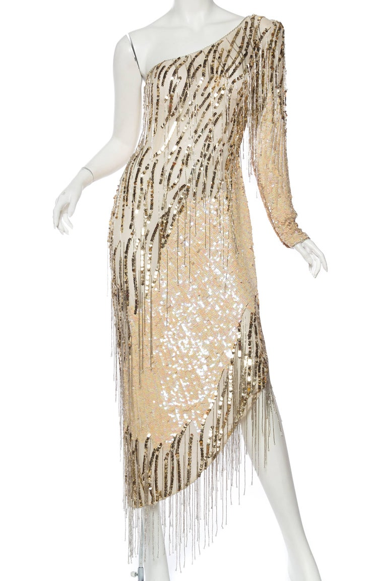 Beige Bob Mackie Beaded Fringe Dress For Sale