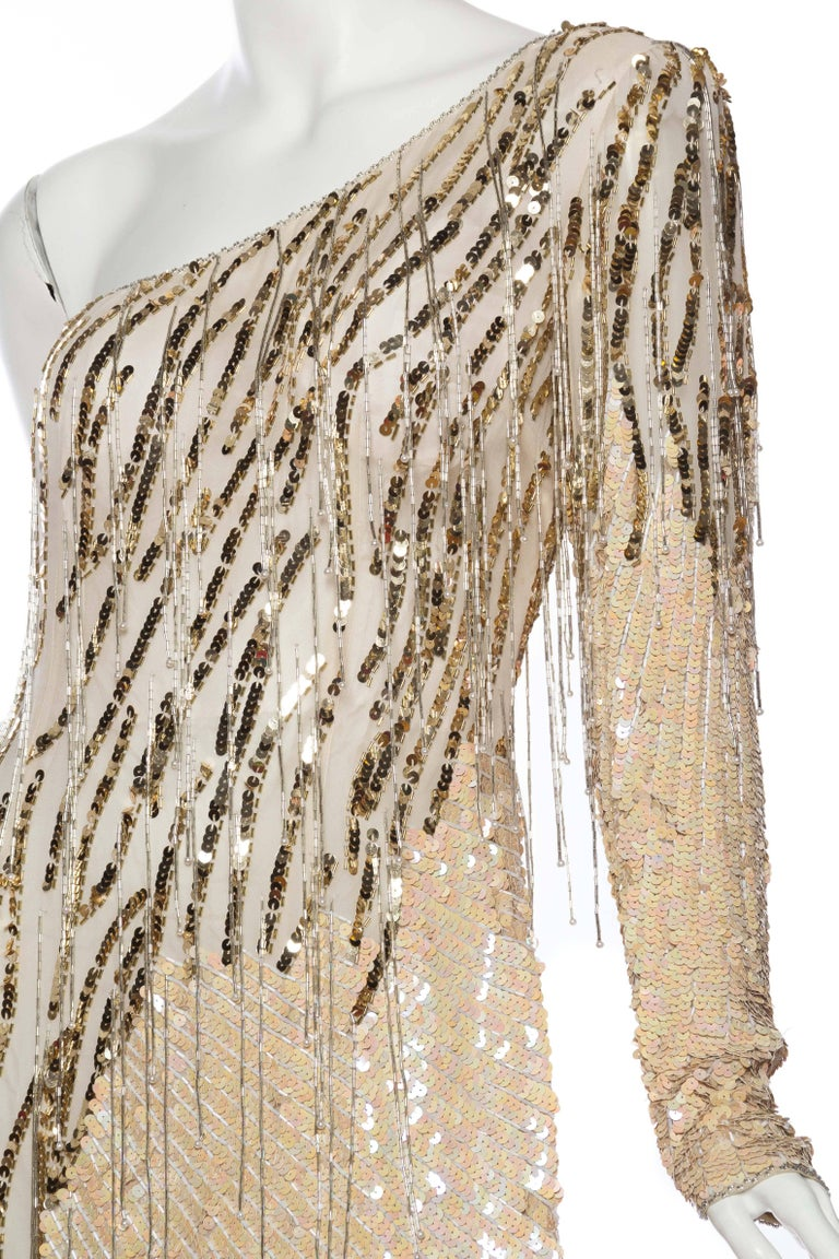 Bob Mackie Beaded Fringe Dress For Sale 3