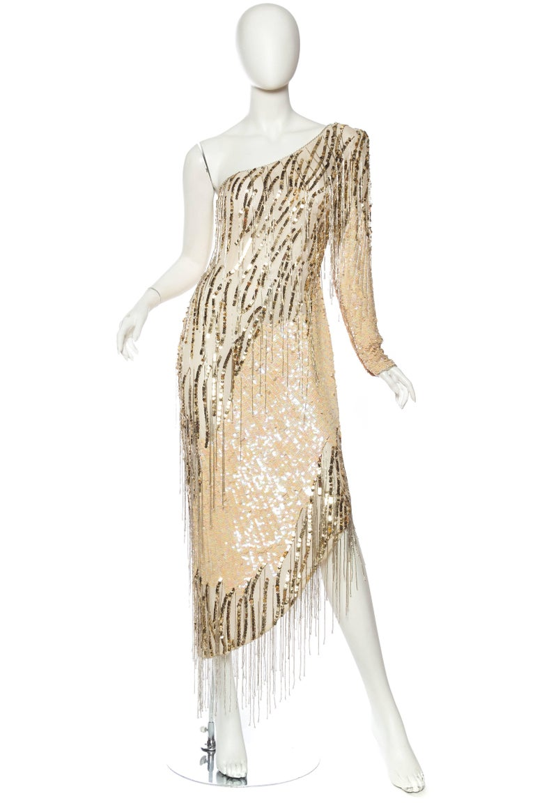 Bob Mackie Beaded Fringe Dress In Excellent Condition For Sale In New York, NY