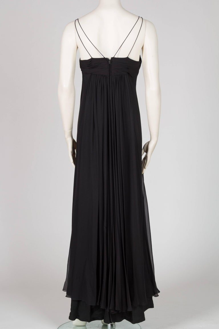 1970s Alfred Bosand Beaded Silk Chiffon Gown with Cape 5