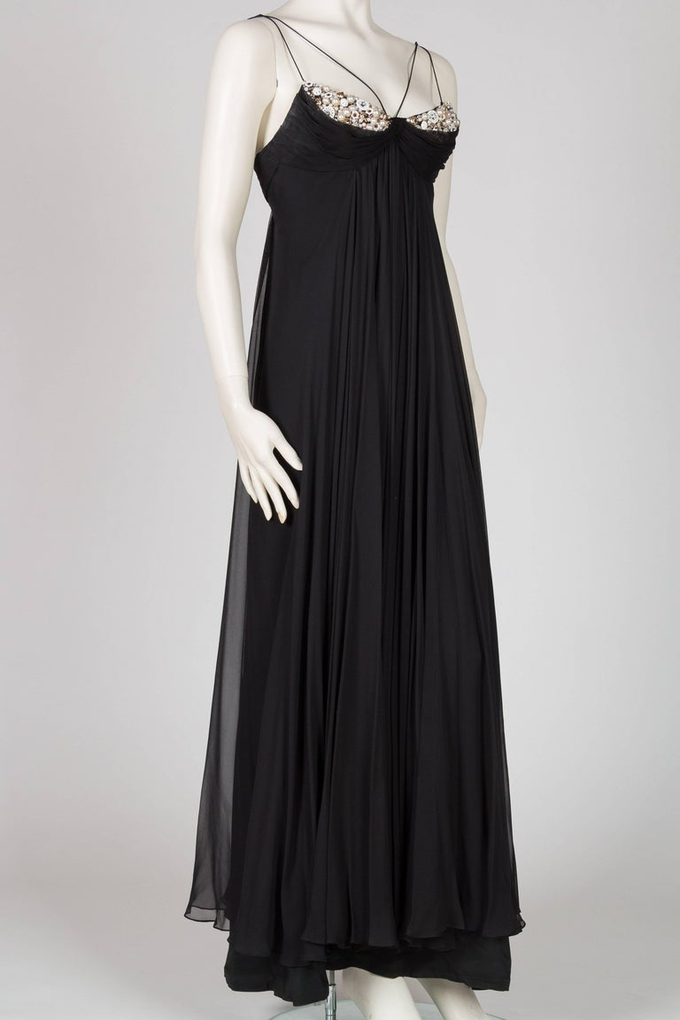 Black 1970s Alfred Bosand Beaded Silk Chiffon Gown with Cape For Sale