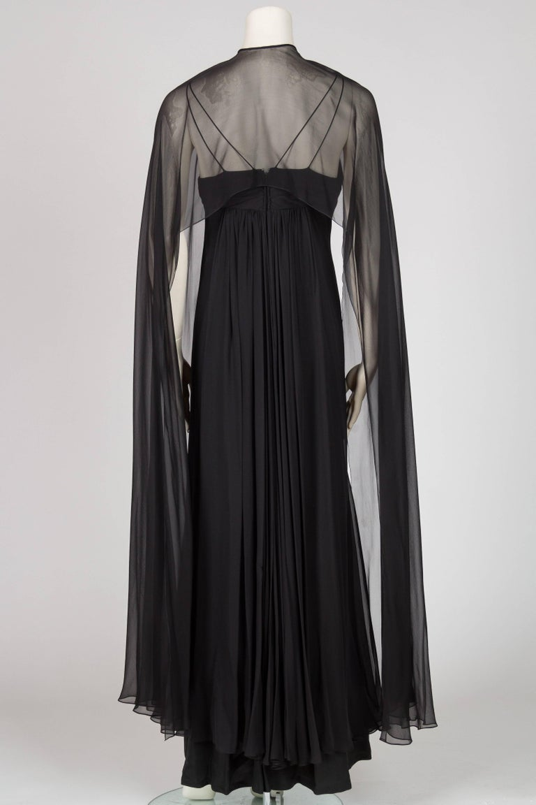 1970s Alfred Bosand Beaded Silk Chiffon Gown with Cape For Sale 1