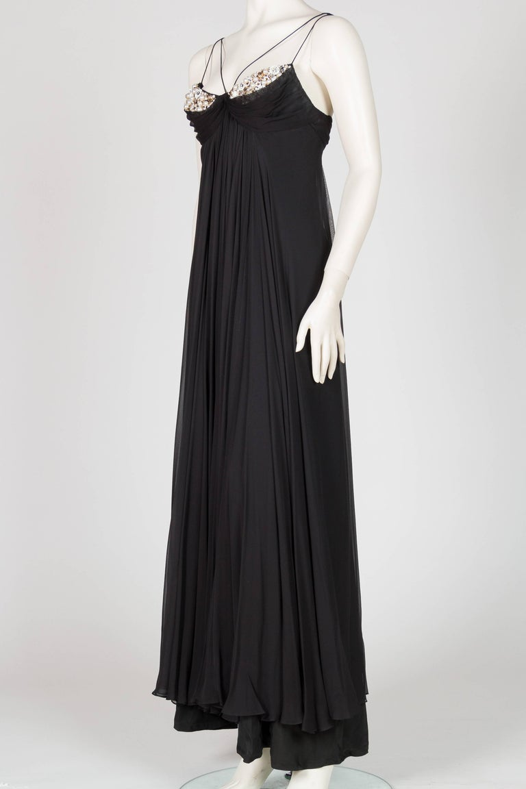 1970s Alfred Bosand Beaded Silk Chiffon Gown with Cape In Excellent Condition For Sale In New York, NY
