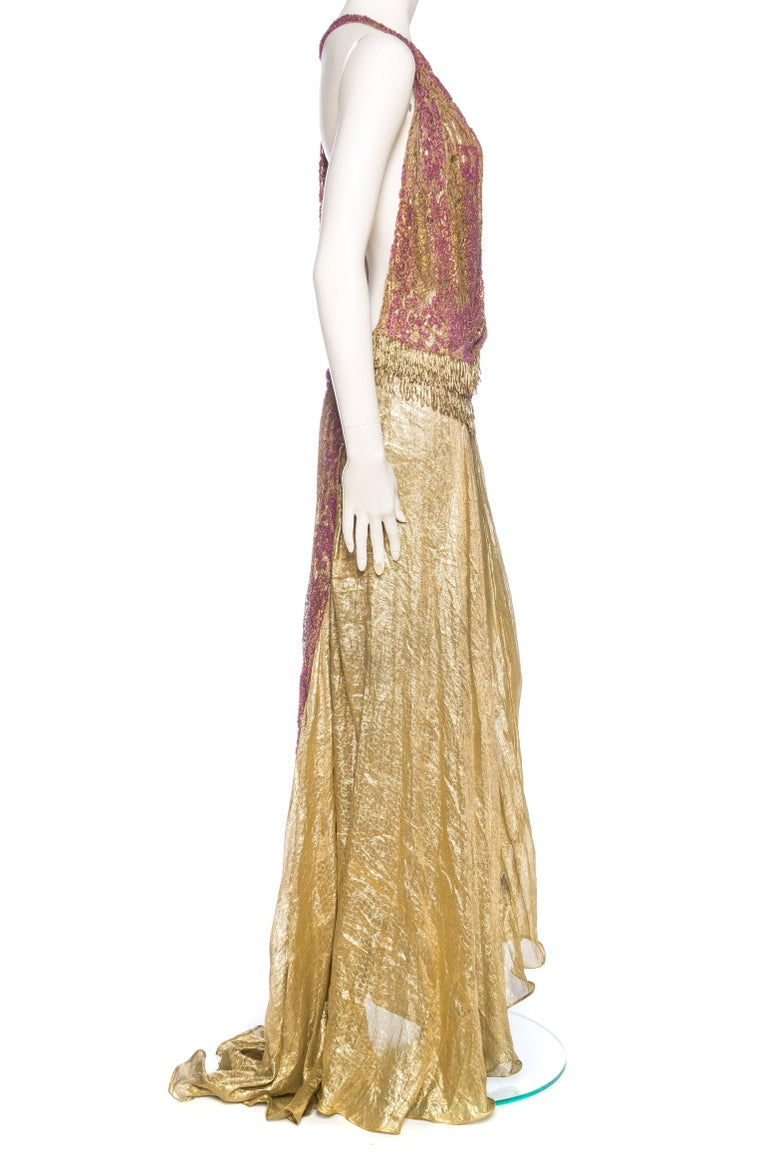 Antique Gold Lam 233 And Beaded Lace Backless Gown At 1stdibs