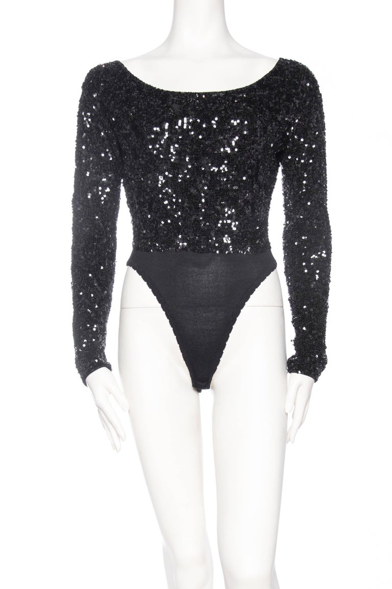 Black Donna Karan Hand Beaded Sequin Knit Bodysuit For Sale