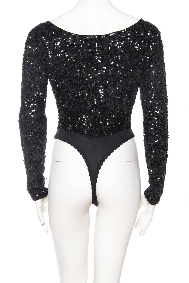 Donna Karan Hand Beaded Sequin Knit Bodysuit For Sale 1