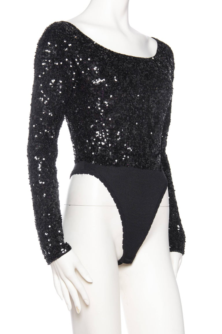 Donna Karan Hand Beaded Sequin Knit Bodysuit In Excellent Condition For Sale In New York, NY