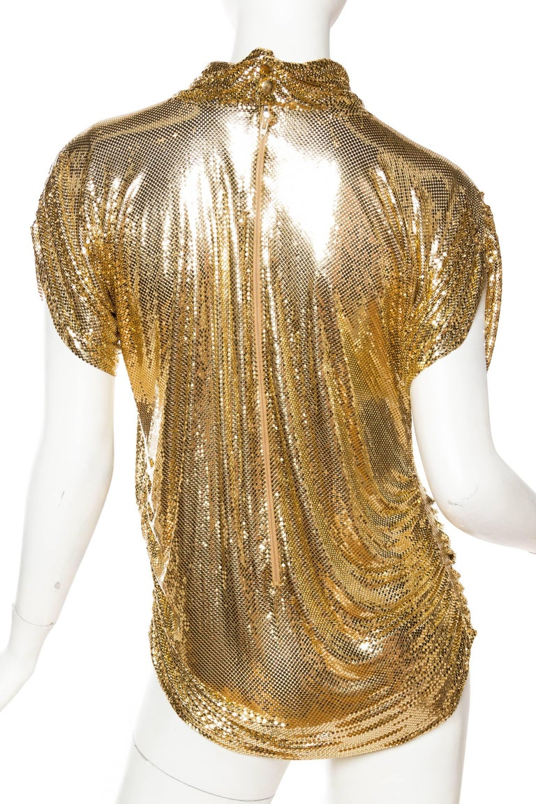 Whiting & Davis Gold Metal Mesh Blouse For Sale 1