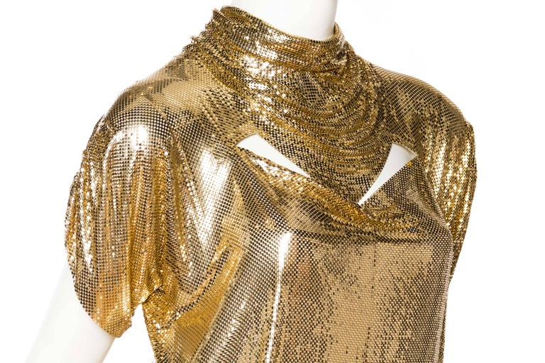 Whiting & Davis Gold Metal Mesh Blouse For Sale 2