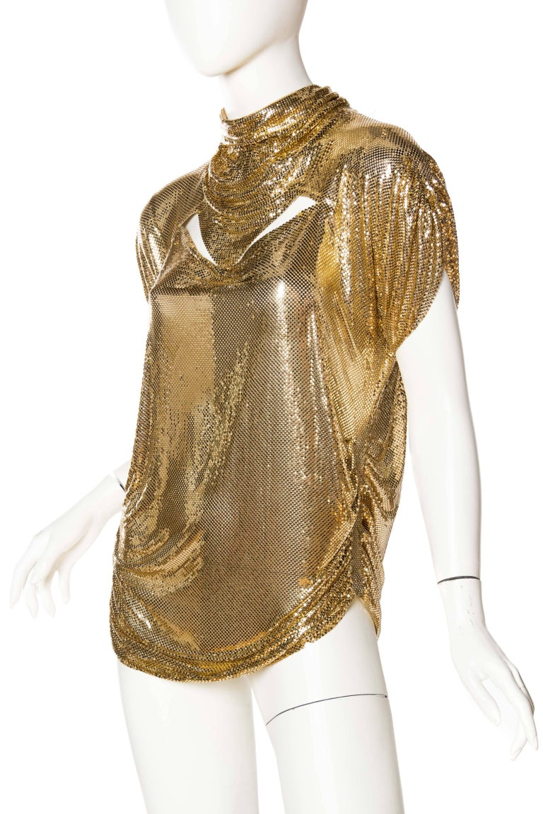 Women's Whiting & Davis Gold Metal Mesh Blouse For Sale