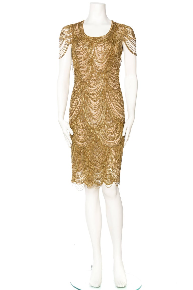 Brown Naeem Khan Nude Dress Dripping in Gold Chains For Sale
