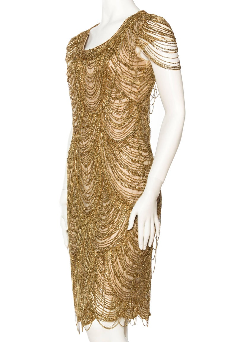 Women's Naeem Khan Nude Dress Dripping in Gold Chains For Sale