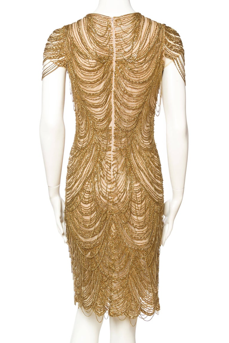 Naeem Khan Nude Dress Dripping in Gold Chains For Sale 1