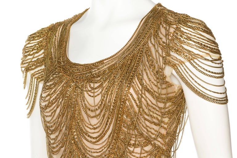 Naeem Khan Nude Dress Dripping in Gold Chains For Sale 2
