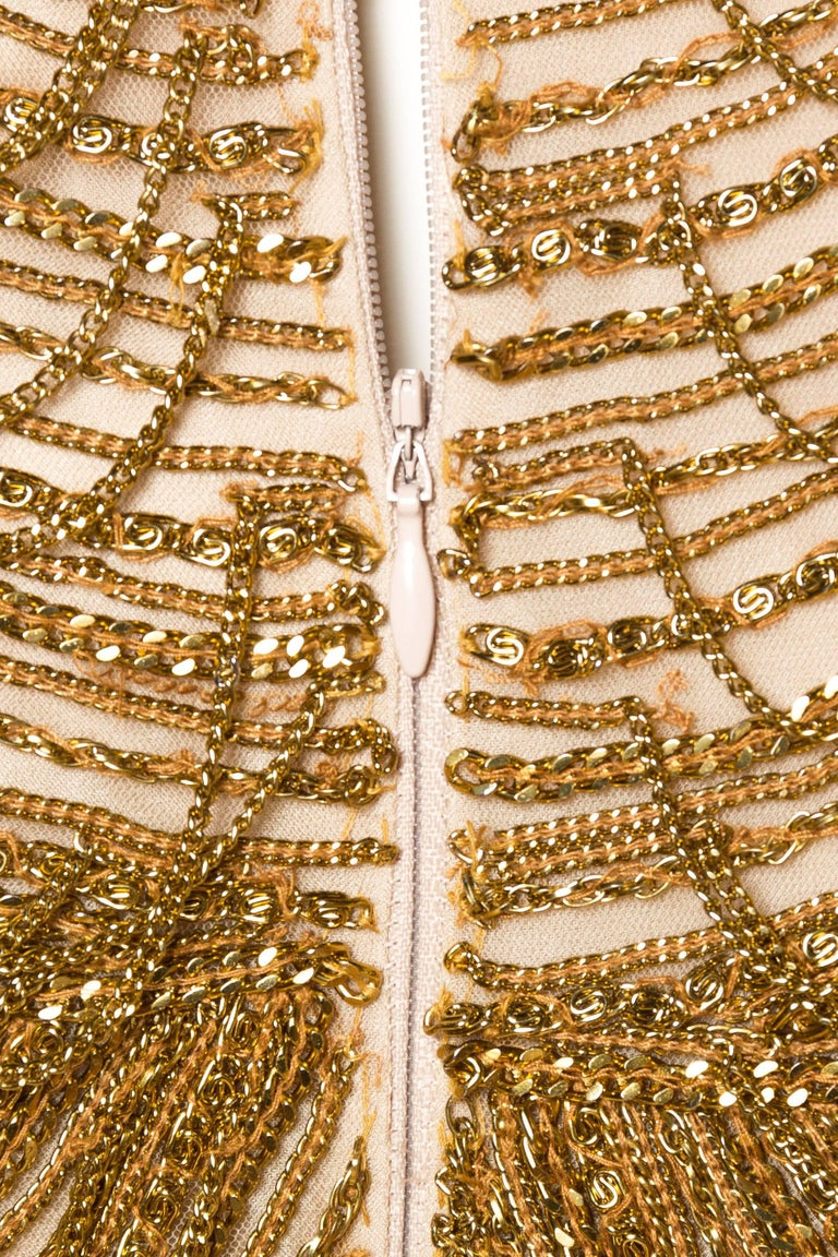 Naeem Khan Nude Dress Dripping in Gold Chains For Sale 4