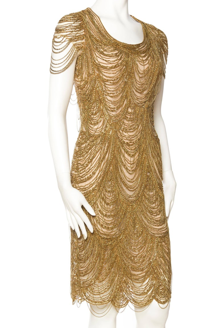 Naeem Khan Nude Dress Dripping in Gold Chains In Excellent Condition For Sale In New York, NY