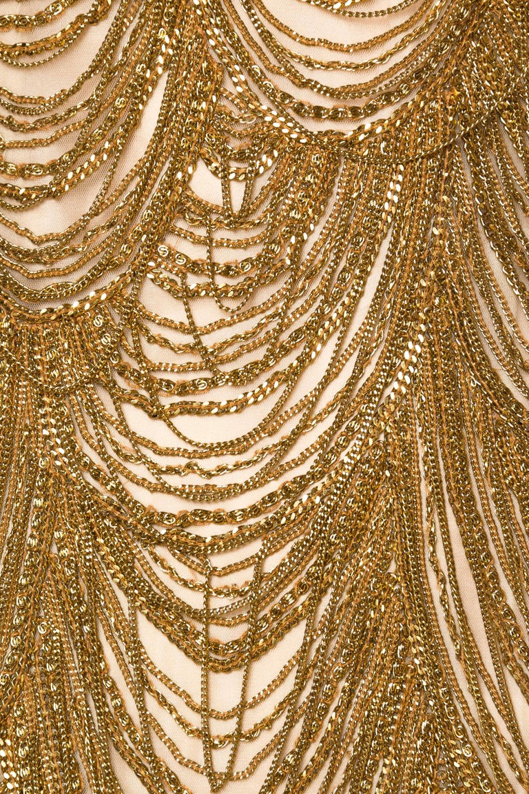 Naeem Khan Nude Dress Dripping in Gold Chains For Sale 3
