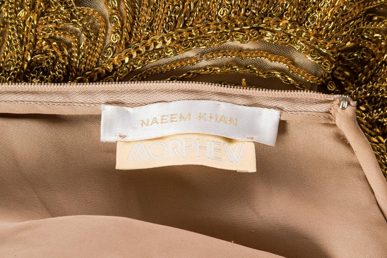 Naeem Khan Nude Dress Dripping in Gold Chains For Sale 5