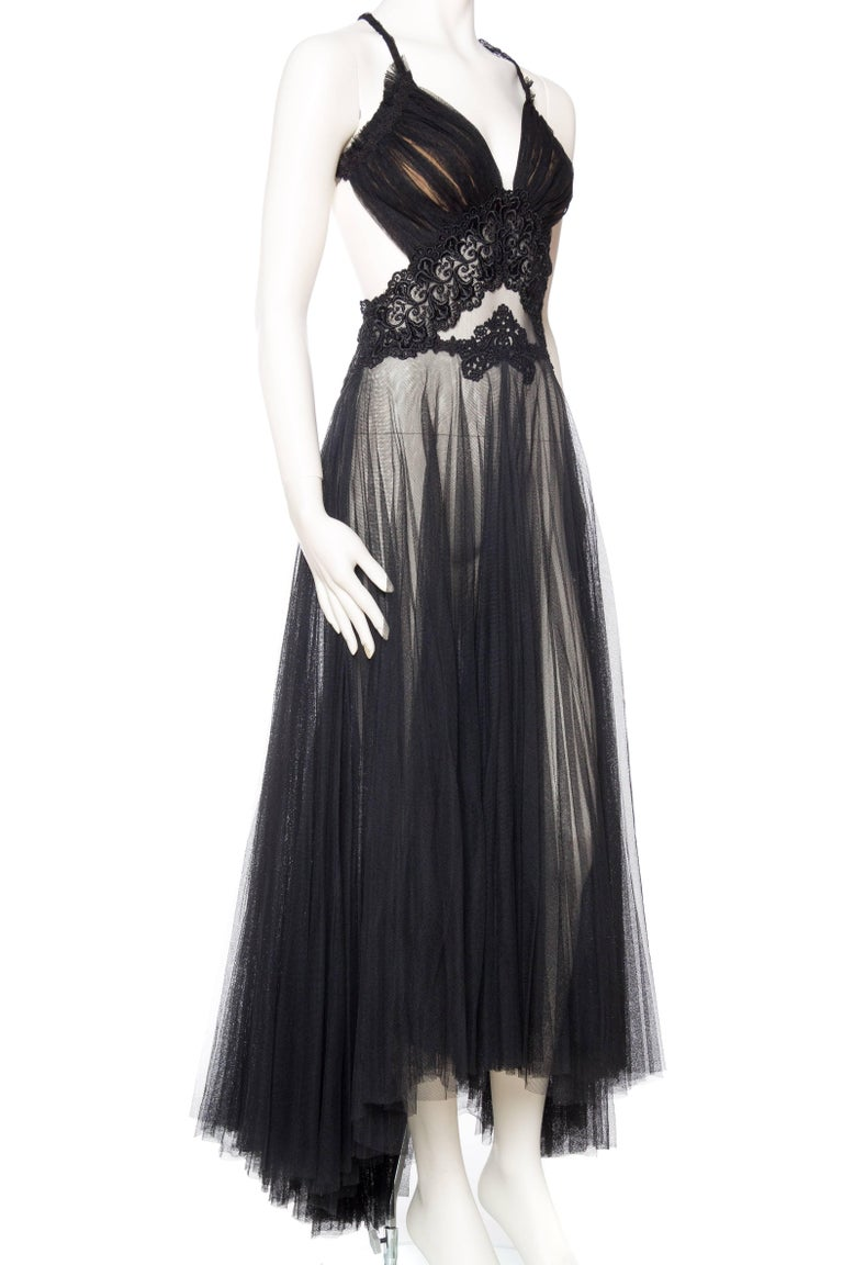 Sheer Net and Antique Lace Backless Gown at 1stdibs