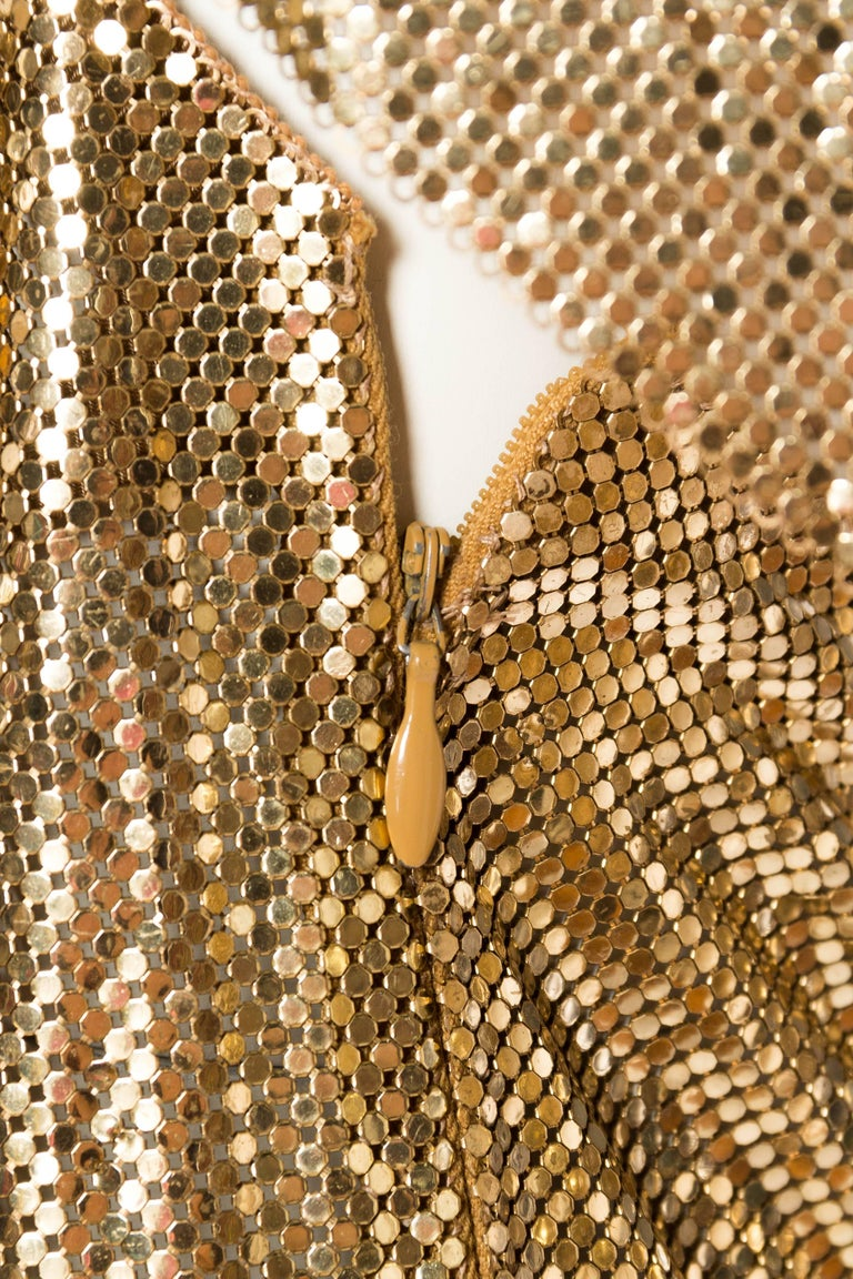 Gold Metal Mesh Backless One Sleeve Gown With High Slit For Sale 6