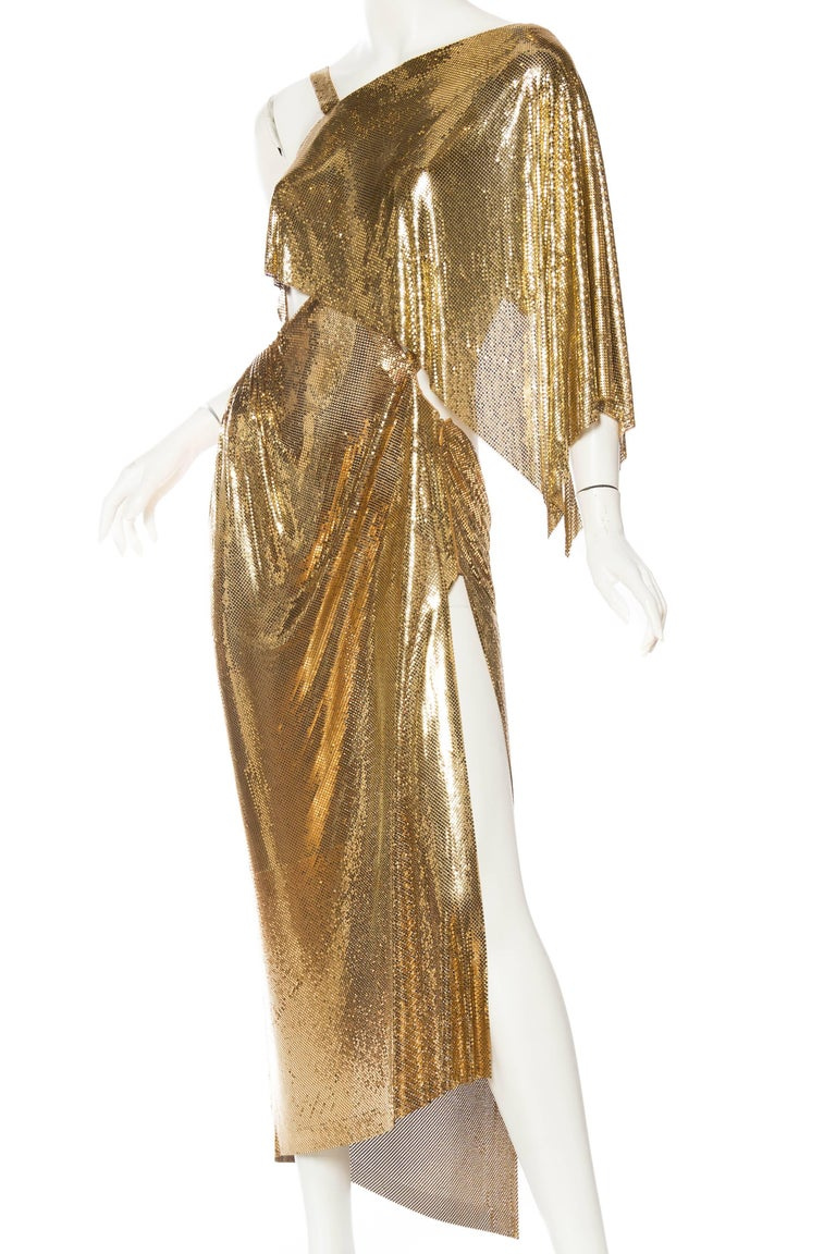 Women's Gold Metal Mesh Backless One Sleeve Gown With High Slit For Sale