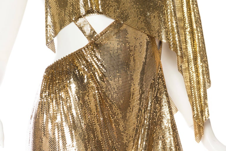 Gold Metal Mesh Backless One Sleeve Gown With High Slit For Sale 3