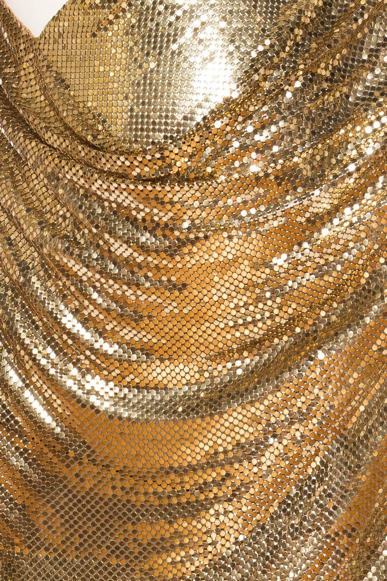 Gold Metal Mesh Backless One Sleeve Gown With High Slit For Sale 5