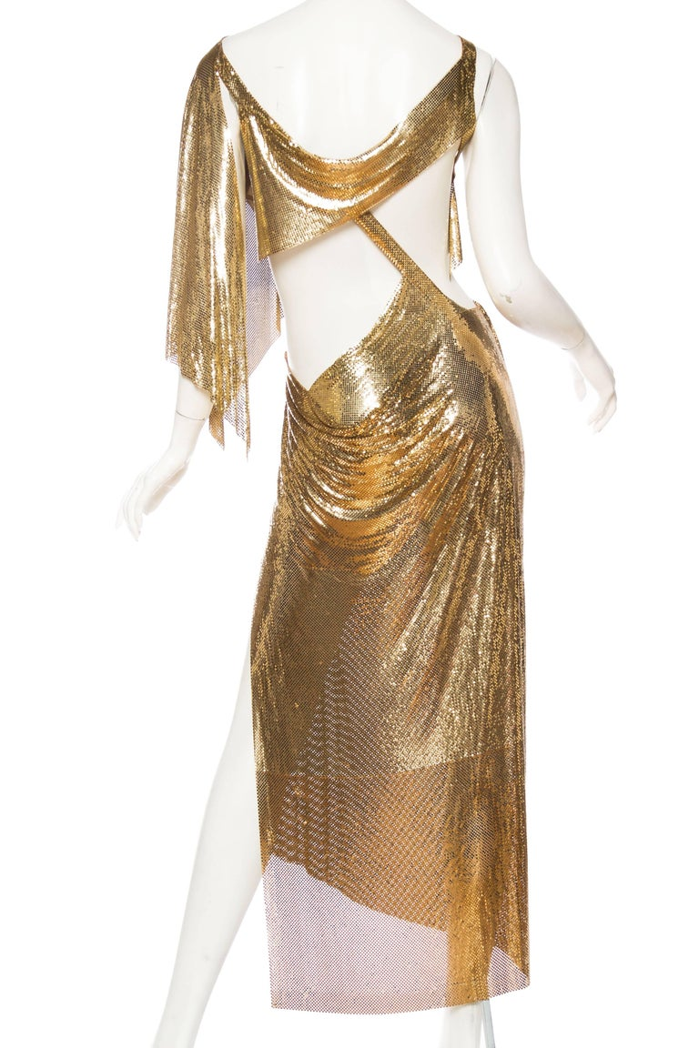 Gold Metal Mesh Backless One Sleeve Gown With High Slit For Sale 1