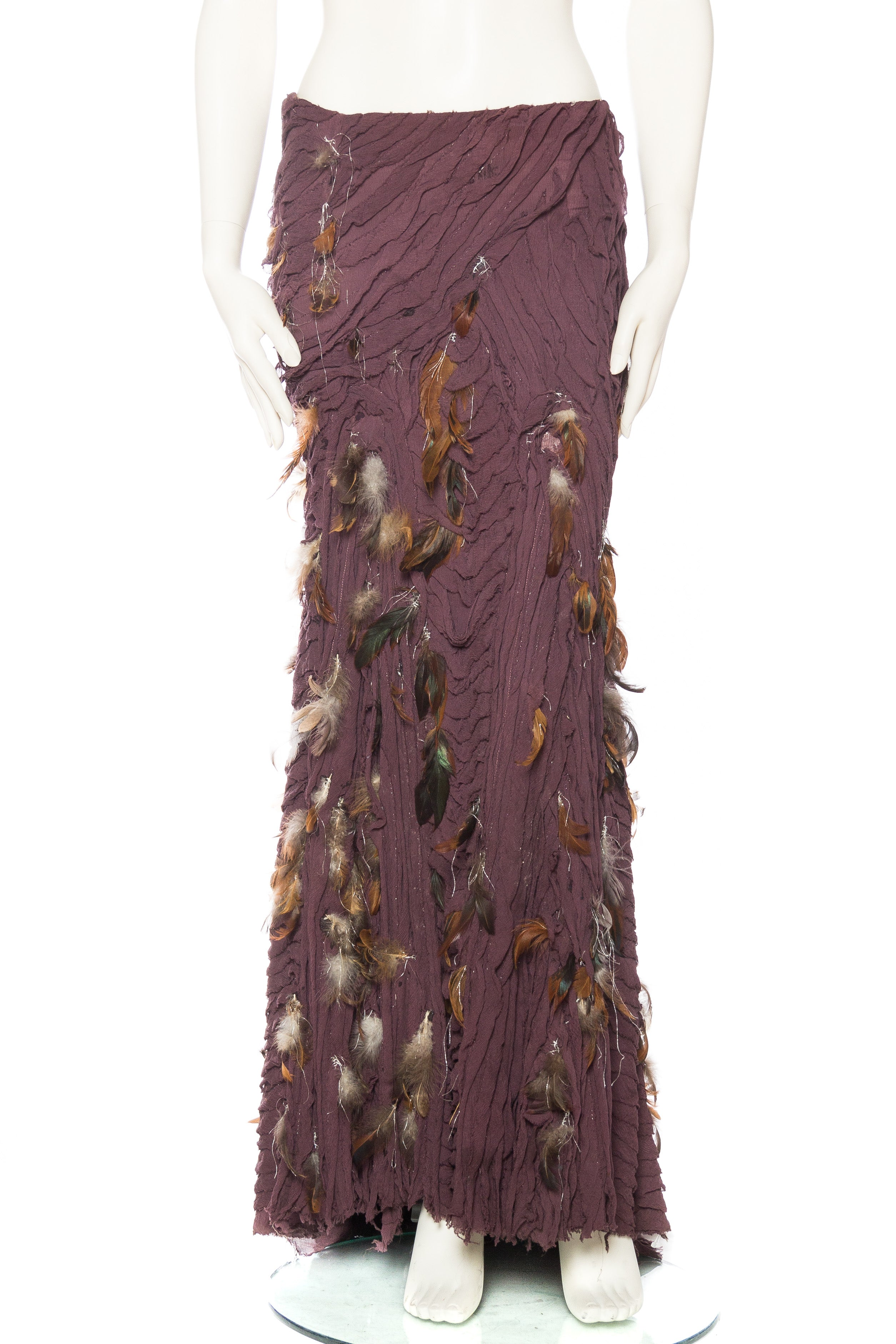 9fd775a3f7 Naeem Khan Feathered Skirt with Train For Sale at 1stdibs
