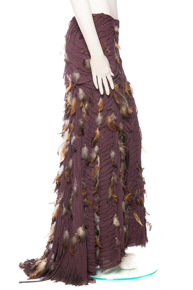 Black Naeem Khan Feathered Skirt with Train For Sale