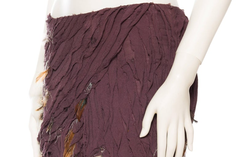 Naeem Khan Feathered Skirt with Train For Sale 1