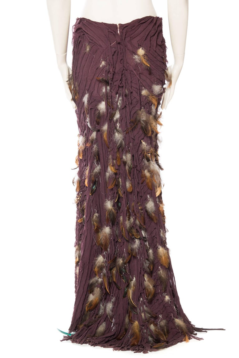 Women's Naeem Khan Feathered Skirt with Train For Sale