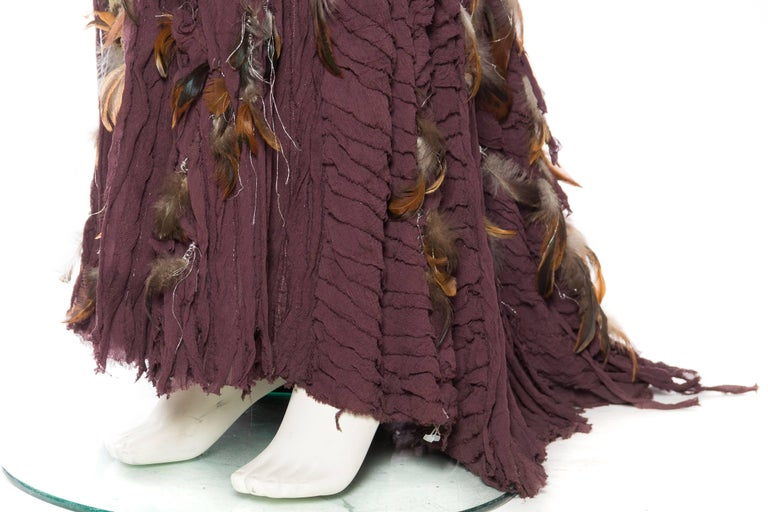 Naeem Khan Feathered Skirt with Train For Sale 2