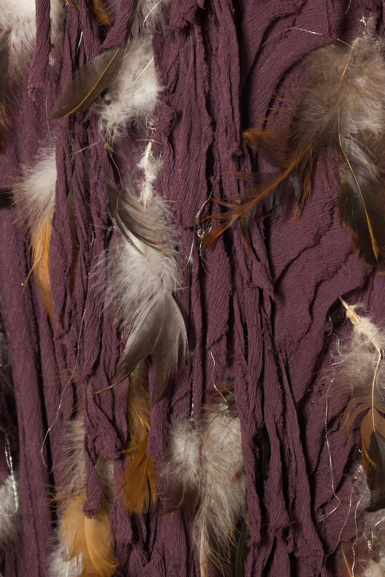 Naeem Khan Feathered Skirt with Train For Sale 3