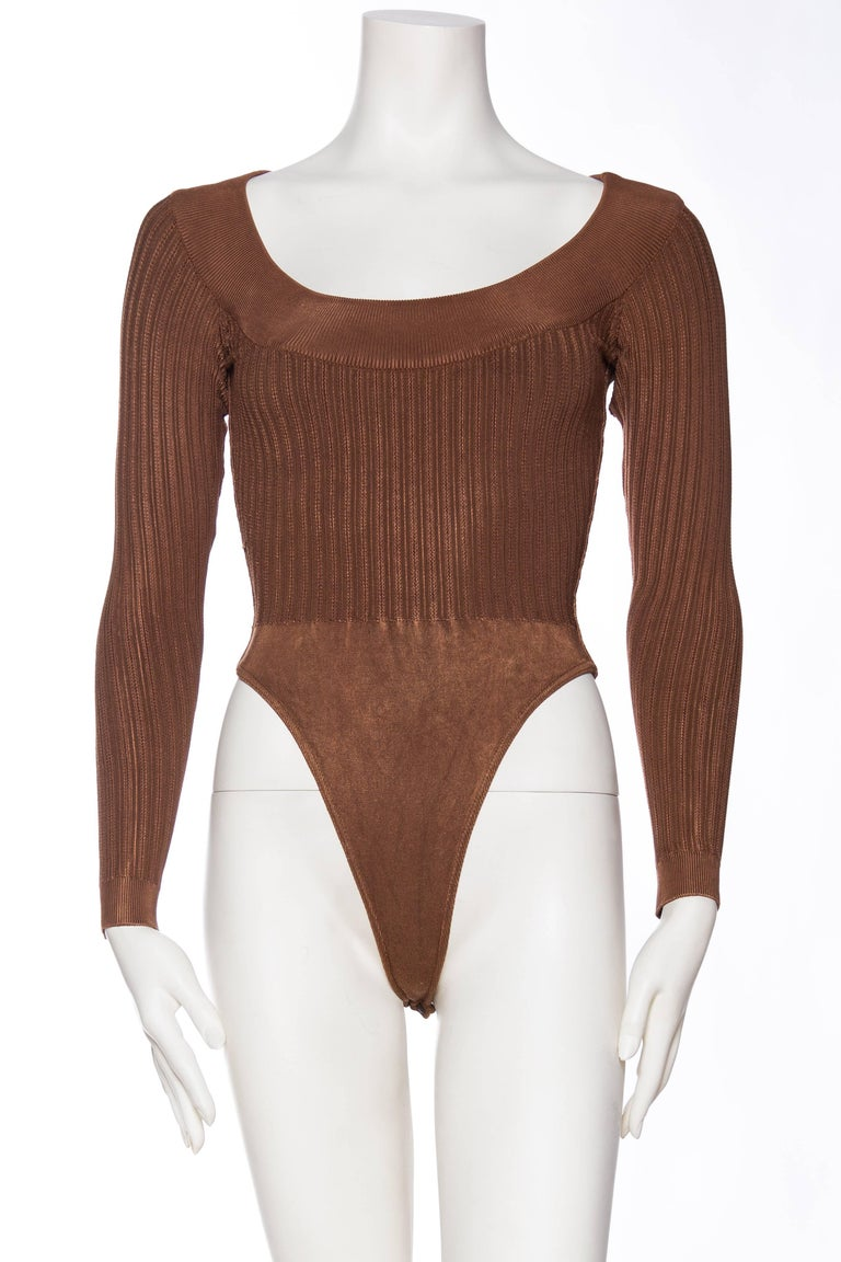 Brown Alaia Dark Nude Body Suit For Sale